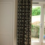 Charcoal And Beige Bordered Curtains