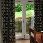Charcoal And Beige Patio Door Curtains