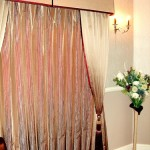 Layered Striped Curtains With Pelmet