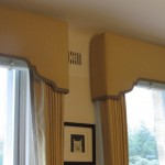 Shaped Pelmet Gold Curtains
